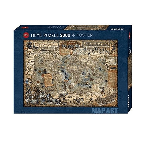 PUZZLE HEYE - Carte du monde pirate - 2000 pièces