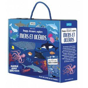 Un nouveau titre dans la série Voyage, Découvre, Explore consacré aux mers et aux océans, pour en savoir plus sur le monde sous-marin grâce au livre de 32 pages et au puzzle de 205 pièces.